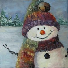 Snowman I Whimsical 6x6 Fine Art Print Reproduction of Christmas Original Oil Painting by Cheri Wollenberg