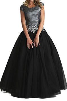 Gorgeous Bride Elegant Kurz Aermel A-Linie Taft Applikation Ballkleid Prom Kleid Abendmode-32 Grau-Schwarz Gorgeous Bride http://www.amazon.de/dp/B00EYZEBE8/ref=cm_sw_r_pi_dp_2i-3ub159VWNJ