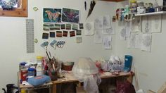I have the world's smallest studio - but I love that i have my own space. Here is where most of my hand built work is made. I throw at the gilpin county rec center - and that is also where i fire my work World's Smallest, Small Studio, Small World, Handmade Pottery, Photo Wall, Fire, Ceramics, Space, Pattern