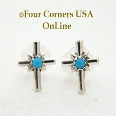 Turquoise Sterling Cross Center Post Earrings Four Corners USA Online Native American Silver Jewelry by Lorraine Chee, $17.00 (http://stores.fourcornersusaonline.com/turquoise-sterling-cross-center-post-earrings-native-american-silver-jewelry-by-lorraine-chee/)