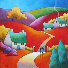 Happy Times by Gillian Mowbray Road Painting, Watercolour Painting, Silk Painting, Naive Art, Whimsical Art, Bunt, Art Tutorials, Home Art, Landscape Quilts