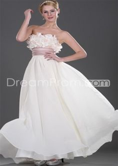 Cheap Gorgeous Floor-Length A-Line Strapless Flowers Prom Dresses