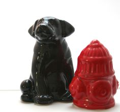 Black lab + fire hydrant salt and pepper shakers. Adorable! $12.00 Via Etsy, of course.    P.S. This was re-pinned to The Black Labs Pack, a cute collection of unique black lab gifts and gear. Brought to you by www.packdog.co -- coming soon!