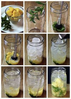 "infused water recipes An easy formula for making a variety of fruit and herb infused waters. Say goodbye to soda, juice, & bottled water with these refreshing ""spa water"" flavors! Fruit Infused Water, Fruit Water, Infused Waters, Fruit Juice, Flavored Waters, Infused Vodka, Yummy Drinks, Healthy Drinks, Healthy Recipes"