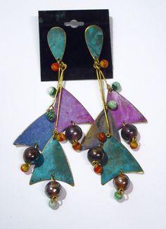 Big Patina metal brass Dangle long  earrings by ToBeUniqueJewelrys, $36.99