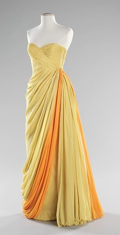 Dress, Evening  Jean Dessès  (French, born Eqypt, 1904–1970)  Date: ca. 1965 Culture: French Medium: silk Dimensions: Length at CB: 56 in. (142.2 cm) Credit Line: Brooklyn Museum Costume Collection at The Metropolitan Museum of Art, Gift of the Brooklyn Museum, 2009; Gift of Mrs. Claus von Bülow, 1971