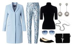 """""""Long Winter Coat (Blue)"""" by kim-mcculley on Polyvore featuring Helen McAlinden, Theory, Jimmy Choo, Christian Dior, Aspinal of London, Cesare Paciotti and Mary Katrantzou"""