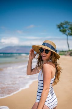 Gal Meets Glam Striped One Piece Swimsuit - Heidi Klein swimsuit & Ray Ban sunglasses