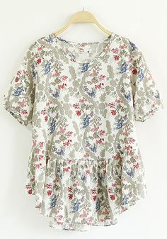 Grey Floral Print Pleated Blouse
