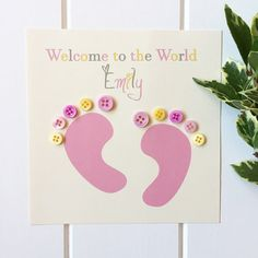 This adorable card is just perfect for a beautiful baby girl, with two cute little pink feet, matching button toes and personalised wording. The wording on the front will say Welcome to the World followed by the name you would like. Please let me know the name in the Notes section when placing your order. This card comes with a matching hand stamped envelope for an extra personal touch. It will be packaged in a protective cellophane cover and delivered in a secure padded envelope…