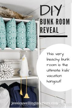 This small space DIY kids bunk room on a budget is the perfect vacation house sleepover spot and playroom for the kids. Complete with 6 IKEA MYDAL bunk beds, jellyfish lights, ship-lap, and lots of storage!