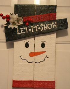 Thanks for viewing! This is for 1 handcrafted wooden snowman sign. This item is made out of pallet wood. It measures approx 15H, 7 1/2W. Painted and