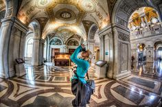 Theresa, photographing the Library of Congress