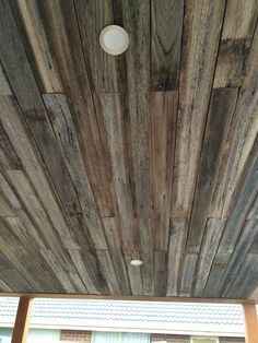 Pergola ceiling with recycled hardwood fence pailings. Cheap and outstanding result!
