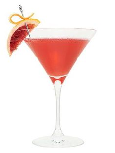 The Don Johnson: Vodka, Pomegranate Liqueur, Solerno Blood Orange Liqueur, White Cranberry Juice, Blood Orange Wedge.