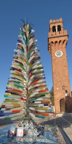 Murano glass Christmas tree (by Simone Cenedese), Island of Murano, Venice, Italy