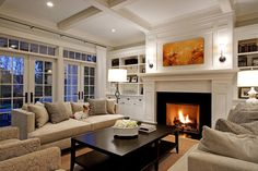Love the cabinets, bookcases and fireplace
