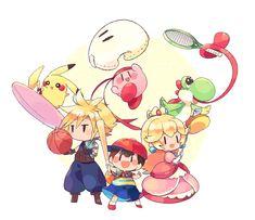 - Ness Cloud Peach Kirby Pikachu and Yoshi. Super Smash Bros Game, Nintendo Super Smash Bros, V Games, Cute Games, Kirby Character, Game Character, Metroid, Pokemon, Nintendo Sega