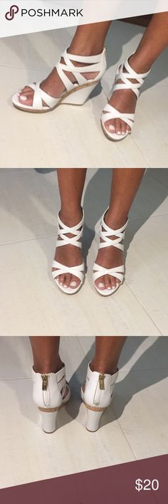 White wedges White wedges with cork accent and gold zipper Isola Shoes Wedges