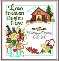 Country Wedding - cross stitch pattern by Imaginating - A pretty wedding sampler with barn decorated for a wedding and lots of flowers, personalised by the bride's and groom's names and date of marriage. Wedding Cross Stitch Patterns, Cross Stitch Designs, Cross Stitch Love, Counted Cross Stitch Patterns, Needlework Shops, Cross Stitching, Crafts, Dmc Floss, Bridal Gifts