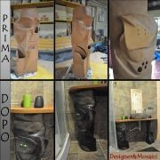 Realizzazione di una colonna in ceramica smaltata in nero, con cassetti e tasche per mettere tutto il necessario per il bagno, trucchi, asciugamani ecc..