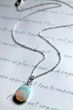 Freeform Opalite on Sterling Silver Necklace by BezelAndZin, $32.00
