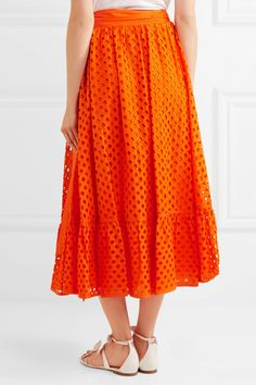 Tory Burch - Hermosa Broderie Anglaise Cotton Wrap Skirt - Orange - US12