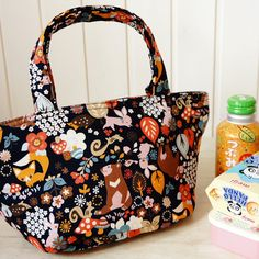 Lunch Bag  Kawaii Japanese Kokka Fabric Insulated  by cottonblue,  #lunchbag #insulated #lunchtote #tote #bag