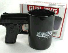 GLOCK GUN Coffee Mug Pistol Grip 16 oz Montana Outdoor Sports NEW IN BOX Black  #AGS #GLOCKHandgunPistolGripBlackGun