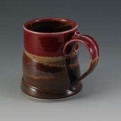 Handmade Pottery Porcelain Plum Red Brown Mug.