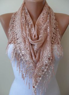 Hand Dyed Lace Two Color Lace Batik Salmon Scarf  by SwedishShop, $17.90