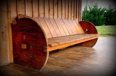 Outdoor bench using Upcycled cable spools ~ via http://www.recyclart.org/2013/06/garden-bench-2/ TO SEE MORE IDEAS VISIT: http://on.fb.me/19u9rf4