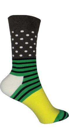 Polka Dots? Stripes? Can't decide? Why not both! These awesome crew socks have a fun combination of stripes, polka dots and a small solid patch of yellow.