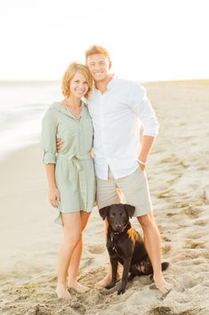 Oh how I love this engagement portrait of Kyle + Jess and their dog Leelo in Montecito at the beach! Dog Engagement Photos, Engagement Photo Outfits, Engagement Couple, Engagement Session, Beach Family Photos, Beach Pictures, Couple Pictures, Family Pictures, Prenup Outfit