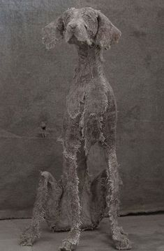 Textile Sculpture, Dog Sculpture, Garden Sculpture, Recycled Fashion, Recycled Clothing, Helen Thompson, Soda Can Art, Newspaper Dress, Dress Card