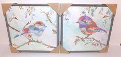 "Set of 2 Colorful Birds on Canvas Gray 12"" x 12"" Wooden Frames Gold Highlights #Kirklands"