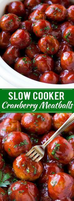 Cranberry Meatballs Recipe | Slow Cooker Meatballs | Slow Cooker Appetizer | Crockpot Meatballs