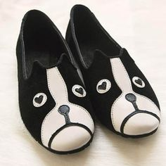 (US$14.49) Fashion Round Closed Toe Dog Print Black Suede Flats