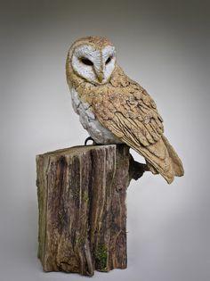 Sculpture of a Barn Owl Perched Pinned by www.myowlbarn.com