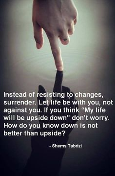 I love changes.  I love the excitement of something new in my life.  Changes bring days with an adventure to look forward to.  And my life IS upside down, but then who's deciding what's upside down and right side up, anyways?  I'm not.