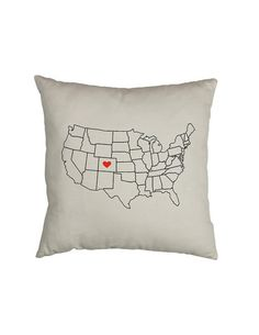 Home Is Where The Heart Is -  State Pillow - Custom USA Map