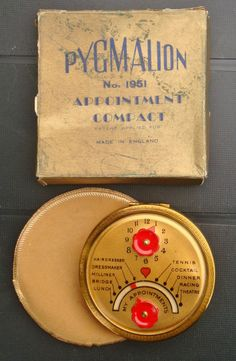 Rare Art Deco Pygmalion Appointment Powder Compact C.1950 s