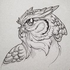 Quilling Design For Beginners Owl Tattoo Drawings, Bird Drawings, Tattoo Sketches, Animal Drawings, Art Sketches, Owl Tattoo Design, Tattoo Designs, Petit Tattoo, Owl Artwork