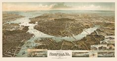 Antique bird's eye view map of Norfolk and Portsmouth, Virginia, from 1892
