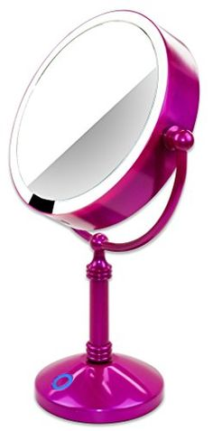 """Modern Mirror LED Lighted 7.5"""" Makeup Mirror With 10X Magnification, Built in Rechargeable Battery"""