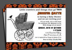 Halloween Baby Shower Invitation Printable - Vintage Stroller Collection via Etsy