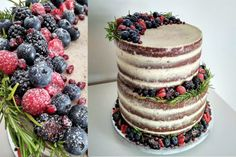 two tier naked cake with forrest fruit Panna Cotta, Naked, Cheesecake, Cupcakes, Fruit, Ethnic Recipes, Desserts, Food, Cheesecake Cake
