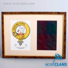Lindsay Clan Crest and Real Tartan Print. Free worldwide shipping available