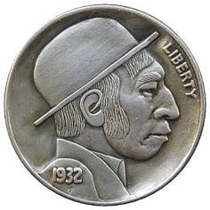 DAVE BOULAY HOBO NICKEL - 1932 BUFFALO PROFILE Hobo Nickel, Buffalo, Classic Style, Auction, Carving, Profile, User Profile, Wood Carvings, Sculptures