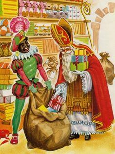 Sinterklaas doet de kadootjes in de zak